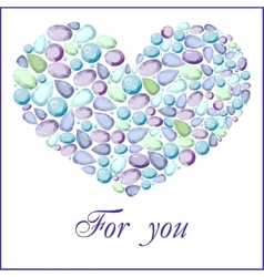 heart of different blue gem stones vector image