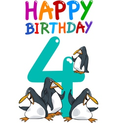 Fourth birthday anniversary card vector