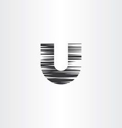Letter u black scratched icon symbol vector