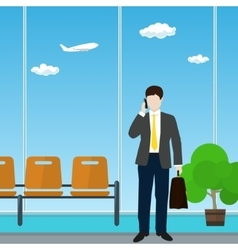 Airport Waiting Room with Businessman vector image vector image
