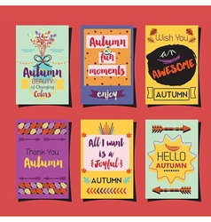 Autumn greetings template and journaling cards set vector