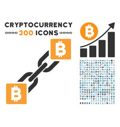 bitcoin blockchain flat icon with collection vector image