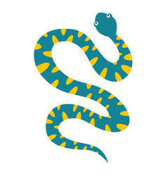 Blue snake with yellow spots icon isolated vector
