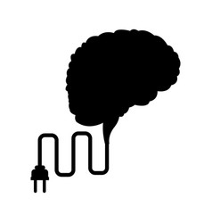 Brain mind idea creativity with cable plug vector