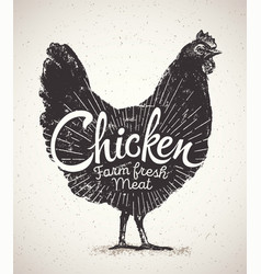 chicken and inscription vector image vector image
