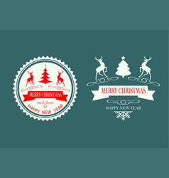 christmas design silhouette reindeer set vector image