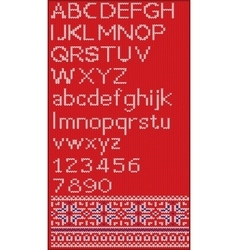 Christmas font in Scandinavian style on red vector image vector image