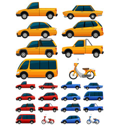 Different types of transportations in three colors vector
