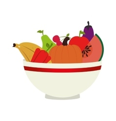 dish with fresh fruits vector image