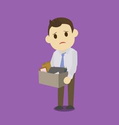 dismissed businessman holding box vector image vector image