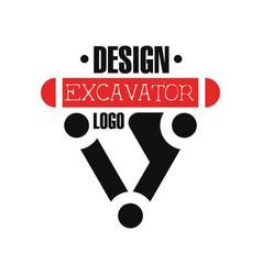 Excavator logo backhoe service label vector