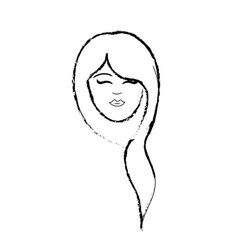 Figure cute woman face with hairstyle vector