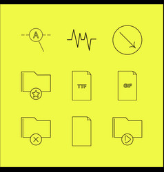 Files and folders linear icon set simple outline vector