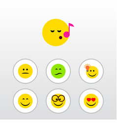 Flat icon emoji set of pleasant frown smile and vector