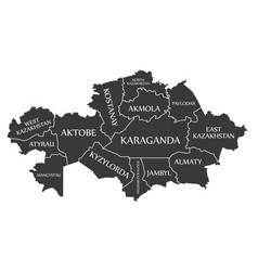 Kazakhstan map labelled provinces black in english vector
