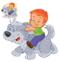 Little boy sitting on a big dog and holding vector