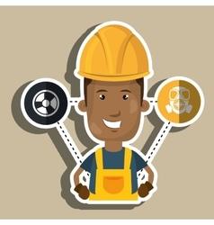 Man worker helmet gloves vector
