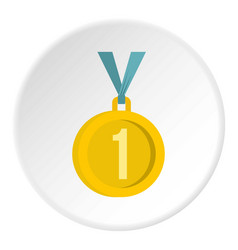 Medal for first place icon circle vector