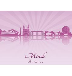 Minsk skyline in purple radiant orchid vector