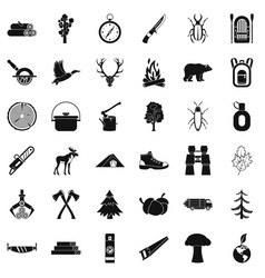 outdoor icons set simple style vector image vector image