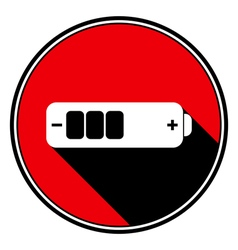 Red information icon white battery medium vector