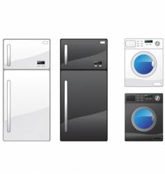 refrigerator and washing machine vector image vector image
