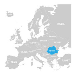 Romania marked by blue in grey political map of vector