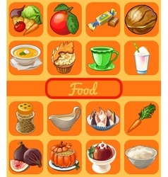 Set of 16 food and drink set vector image vector image