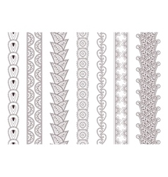 Set of paisley hand drawn henna tattoo borders vector image vector image