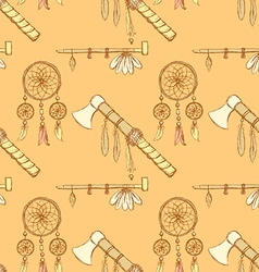 Sketch tomahawk dream catcher and pipe vector image vector image