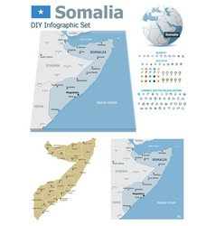 Somalia maps with markers vector image vector image