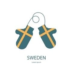 Sweden mitten with flag vector