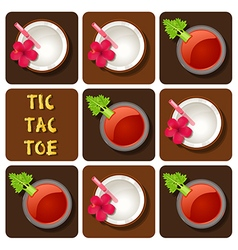 Tic-tac-toe of tomato juice and coconut water vector