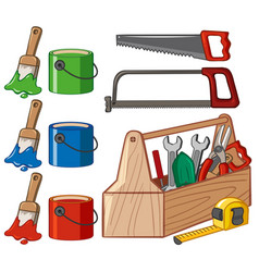 Toolbox and paint buckets vector