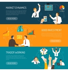 Trader work horizontal banners set vector