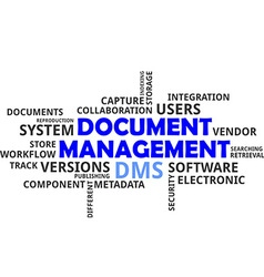 word cloud document management vector image vector image