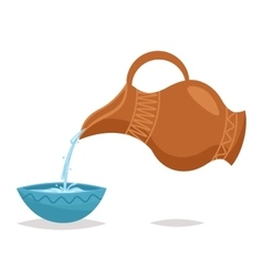 Water pour drink jug bowl retro vintage cartoon vector