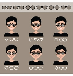 Selection of female sunglasses vector
