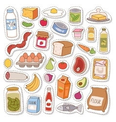 Everyday food icons patchwork vector