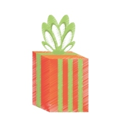 drawing gift box stripes green bow festivity vector image