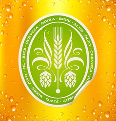 Beer label on beer background with drops vector