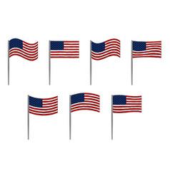 american flag set on white vector image