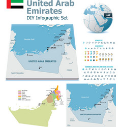 United arab emirates maps with markers vector