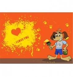 cartoon dog card vector image