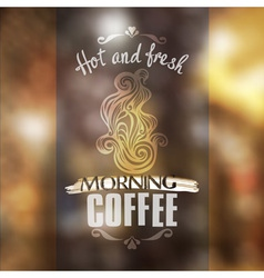 Hot fresh coffee showcase mockup vector
