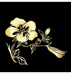 Golden twig blossoms vector