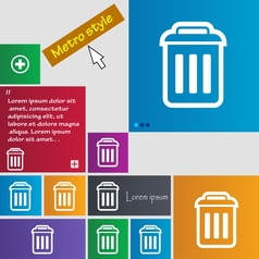 Trash icon sign buttons modern interface website vector