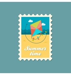 Kite flat stamp summertime vector