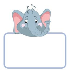 Baby elephant cartoon label vector