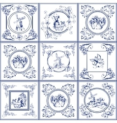 Famous delft blue tiles icons collection vector